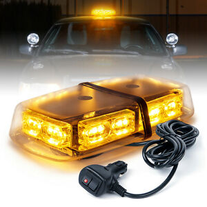 36 Led Oval Strobe Lights Bar Roof Top Emergency Hazard Flash Lamps Yellow amber