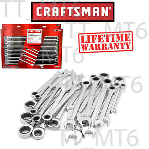 Craftsman 20 Pc Combination Ratcheting Wrench Set Metric Mm Standard Sae