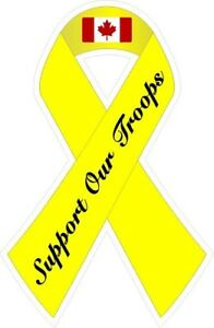 Support Our Canadian Troops Ribbon Decal Sticker