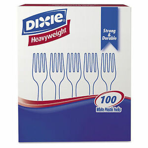 Dixie Plastic Cutlery Heavyweight Forks white 100 Per Box 1 000 Ct