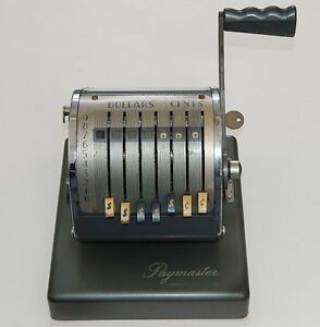 Vintage Paymaster Series X 500 Check Writer Stamping Machine With Key