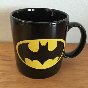 Batman  Coffee Mug  Applause  TM & DC Comics   Black w/ Yellow    3 1/2