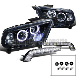 2010 2014 Mustang Gt Halo Projector Headlights Glossy Black led Drl Bumper Lamps