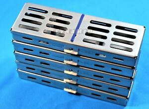 5 German Dental Autoclave Sterilization Cassette Rack Box Tray For 5 Instruments