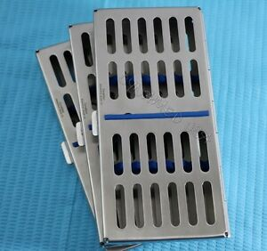 New 3 Dental Autoclave Sterilization Cassette Rack Box Tray For 7 Instruments