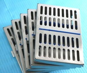 Set Of 5 Dental Autoclave Sterilization Cassette Rack Box Tray For 10 Instrument