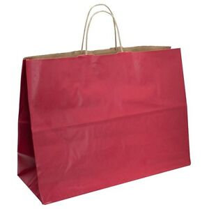 50 Large Red Tote Handle Merchandise Retail Shopping Bags 16 X 6 X 12