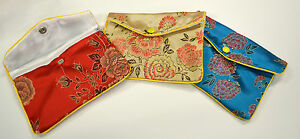 Silk Jewelry Chinese Pouch Bag Roll Assorted Four Dozen Zipper 6 1 2 X 4