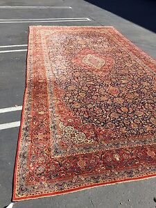 Very Large Semi Antique Vintage Kashan Hand Knotted Persian Rug 10 5 X 19 5