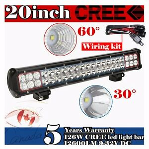 20 Inch Led Work Light Bar Cree 126w Spot Flood Combo Suv Off Road Ute Jeep 4wd