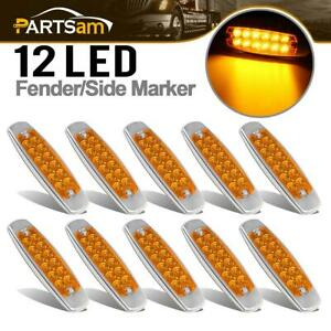 10x 6 15 Amber Cab Marker Light Clearance Ss Bezel 12 Diodes For Freightliner