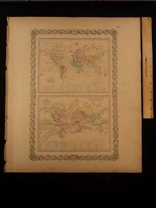 1855 1st Colton Atlas Color Map World Ocean Currents Tidal Lines 14x17in