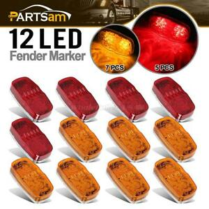 12x Amber Red Led Marker Clearance Light 12 Diodes Bullseye 4 Trailer Lights