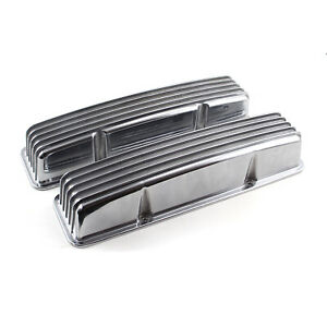 Chevy Sbc 350 Classic Finned Aluminum Valve Covers Tall W O Holes
