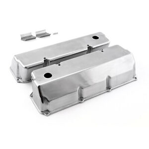 Fits Ford 302 351c Cleveland Polished Aluminum Plain Valve Covers Tall W Hole