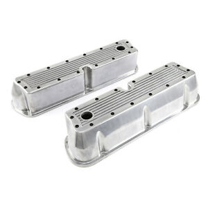 Ford Sb 289 302 351 Windsor Polished Ribbed Aluminum Valve Covers Tall W Hole
