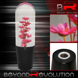 Universal Jdm Vip Poly Shift Knob Flower Filled Red 150mm Adapters