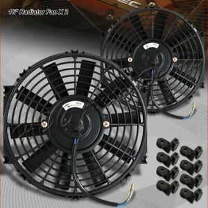 2 X 16 Black Electric Slim Push Pull Engine Bay Cooling Radiator Fan Universal