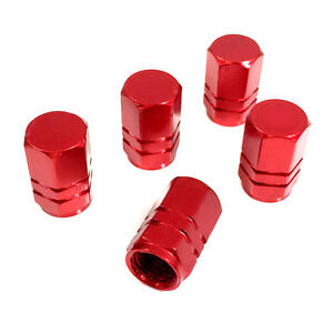 5 Premium Red Aluminum Tire Wheel Air Stem Valve Caps For Car Truck Hot Rod