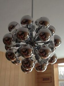 Huge Lightolier Modern Chrome 27 Arm Sputnik Chandelier Mint