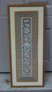 Antique Chinese Gold Stitches Embroidery Panel With Woman On Garden