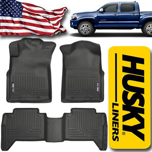 Floor Liners 2005 2015 Toyota Tacoma Double Cab Husky Mats Front And Rear Black