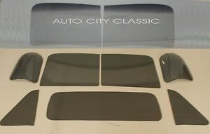 51 52 53 Chevy Pickup Windshield Vent Door Rear 3 Piece Back Glass Set Grey