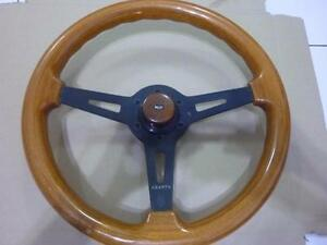 Rare Abarth Wood Steering Wheel Antique Button Fiat Autocross Racer 14 36cm A711