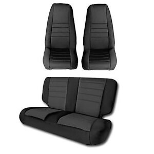 1991 1995 Jeep Wrangler Custom Neoprene Front Rear Seat Covers In Black