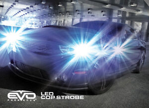 Evo Formance Universal Led Cop Strobe Light Headlight Kit Blue For Car truck