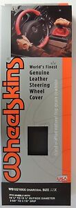 Wheelskins Original Charcoal Leather Steering Wheel Cover Axx