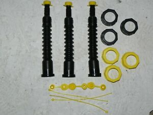 4 Gas Can Spouts Replacement Kits Black For Gas Diesel Water Kerosene Brand New