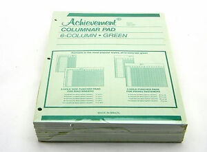 10 Achievement Columnar Analisys Pad 6 Columns 3 Hole 11 x8 1 2 50 Sheets Green