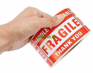 2000 Labels 3x5 Handle With Care Fragile Label Sticker 2 Rolls 1000 Per Roll