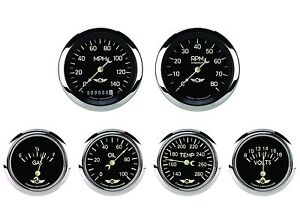 Classic Instruments Classic Series 6 Gauge Set Black Hot Rod 2 5 8