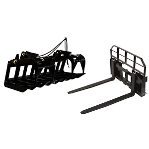 72 Root Grapple Bucket 48 Hd Pallet Forks Package Skid Steer Loader Tractor