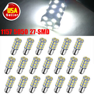 20x 1157 1142 White 27smd 5050 Led Turn Signal Back Up Reverse Light Bulbs