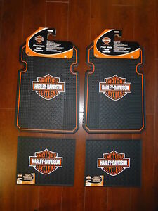 Harley Davidson Front And Rear Car Truck Rubber Floor Mats Set New