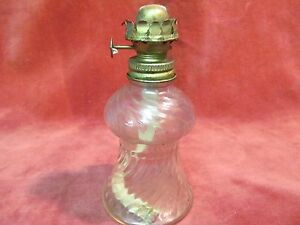 Vintage 5 1 4 Pressed Glass Oil Lamp Swirl Pattern