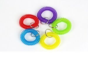 100 Pcs Spiral Wrist Coil Key Chain Key Ring Holder 5 Color Best Price