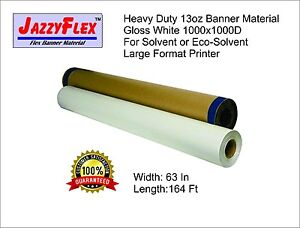 Heavy Duty 13oz Banner Material 1000x1000d 63 In X 164 Ft Roll Gloss White W4