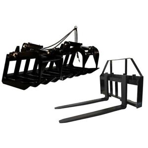 60 Root Grapple Bucket 42 Hd Pallet Forks Package Skid Steer Loader Tractor