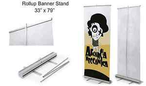 4 pack Retractable Roll Up Banner Stand display 33 X 79