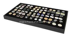 6 Large Cufflinks Storage Display Black Stackable Storage Trays