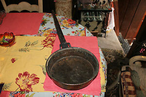 Antique Copper Metal Frying Pan W Hand Forged Handle Large Country Decor