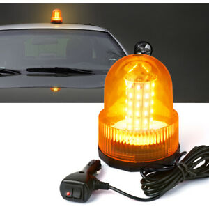 60 Led Emergency Vehicle Flash Strobe Dome Rotating Beacon Warning Light Amber