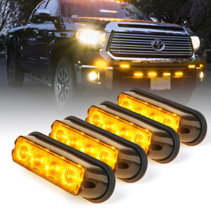 4pc 4 Led Side Marker Grille Emergency Strobe Flash Light Pods Assembly Amber