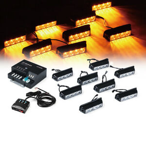 32 Yellow Amber Led Emergency Side Marker Flash Strobe Lights For Dash Deck Gril