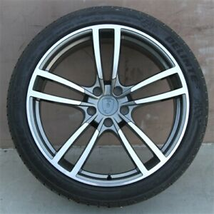 4 Set 22x10 5x130 Wheels Tires Pkg Porsche Cayenne Touareg Gunmetal Machine