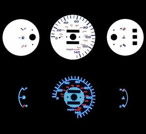 New 92 95 Honda Civic Dx Mt No Rpm Blue Indiglo Glow White Gauge
